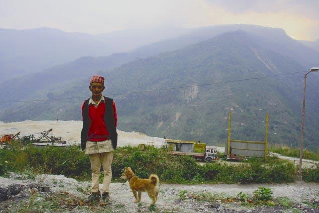 20080410- Sikkim dams - 2849 - man and dog